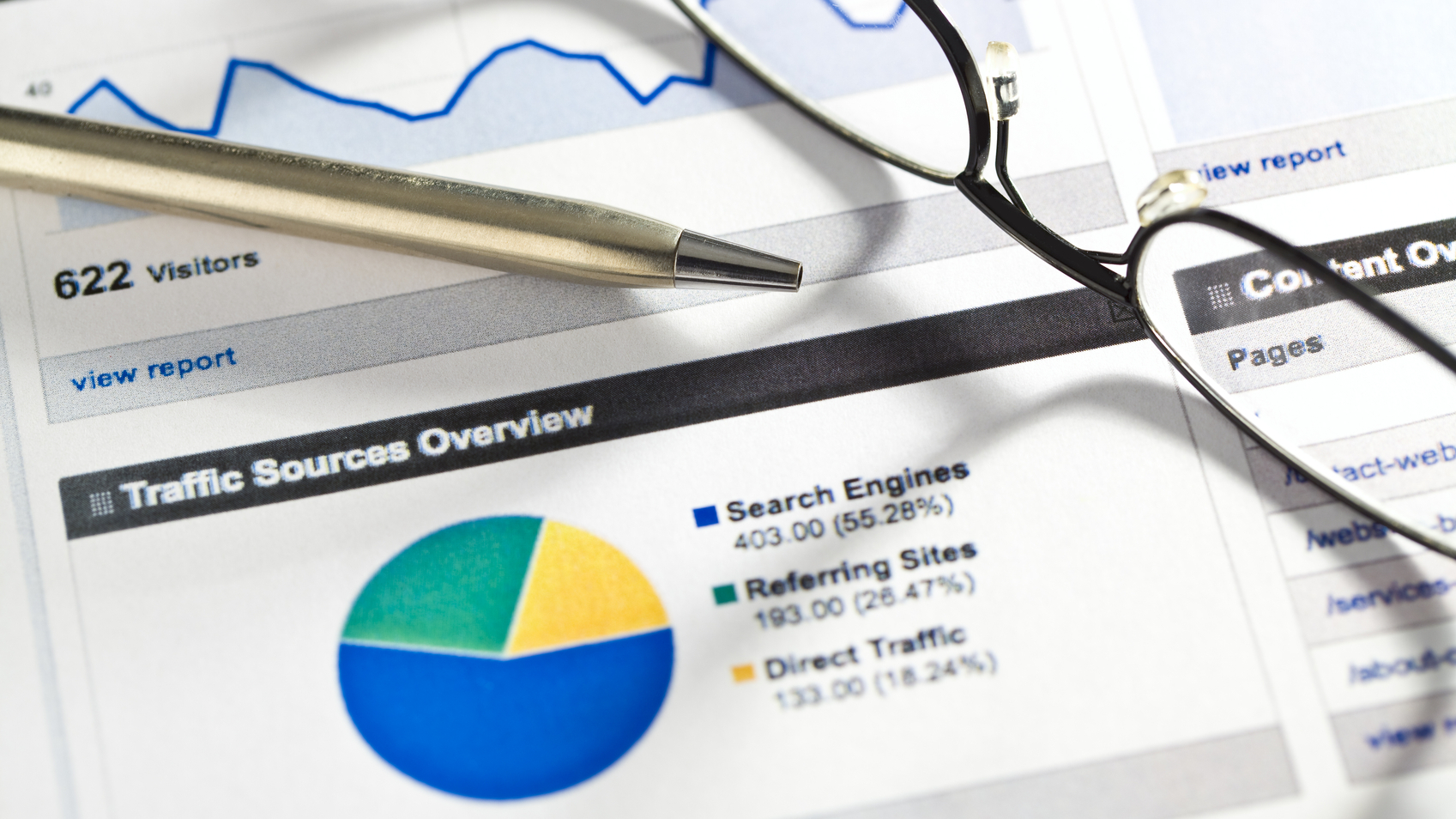 SEO website traffic charts and graphs.