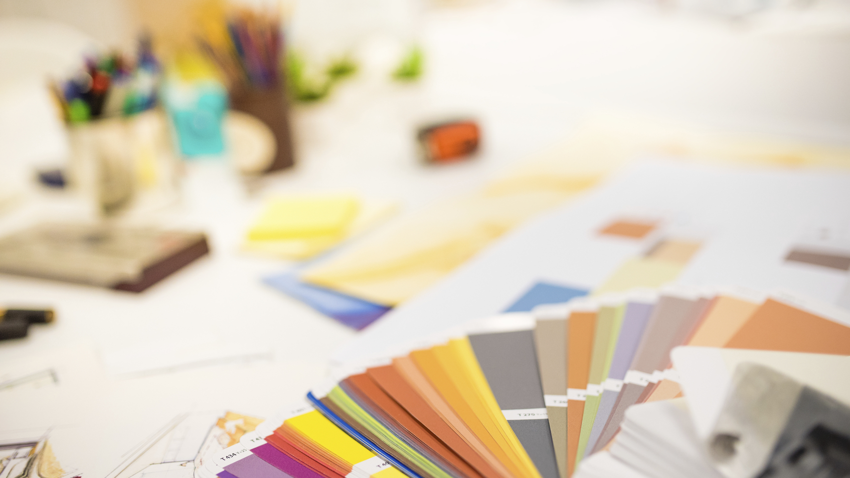 Color swatch on designers desk